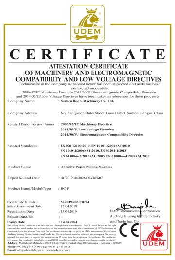 CE para la máquina lijadora papel de imprenta